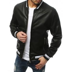 Perforovaná pánská kožená bunda černé barvy