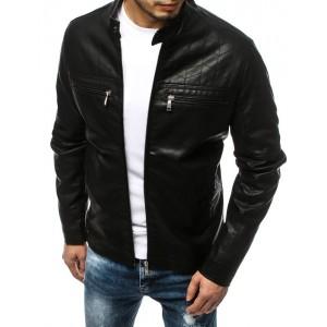 Stylová pánská kožená bunda s dvěma náprsními kapsami