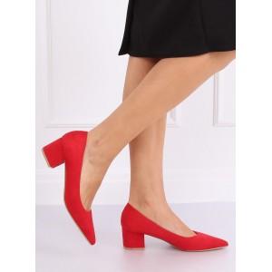 Červené dámské semišové lodičky na nízkém podpatku