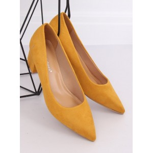 Pohodlné dámské semišové lodičky žluté barvy