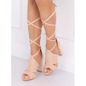 Vysoké dámské semišové sandály s elegantním vázáním