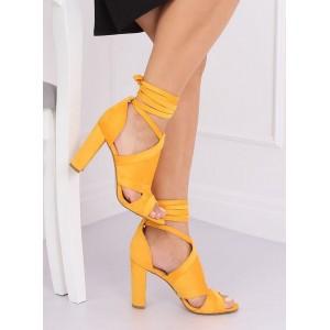 Žluté dámské semišové sandály na vysokém podpatku