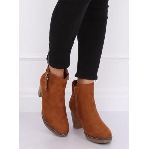 Semišová kotníková obuv hnědé barvy s pěnovou podšívkou