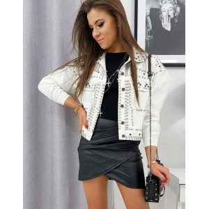 Bílá dámská riflová bunda s trendovým vybíjením