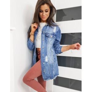 Dlouhá dámská riflová bunda modré barvy na léto