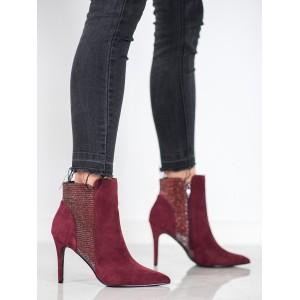 Vínové kotníkové boty na jehlovém podpatku