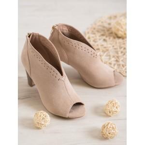 Béžová dámská kotníková obuv s otevřenou špičkou