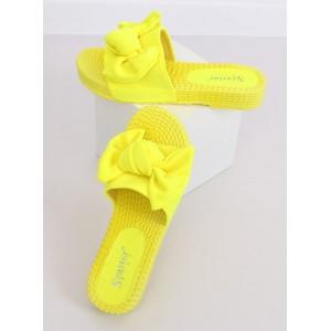 Trendy dámské neonově žluté pantofle s módní mašlí