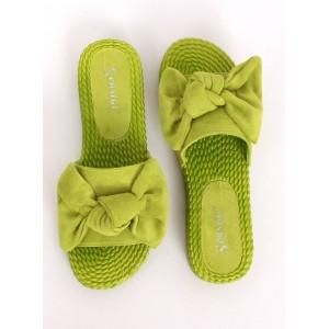 Krásné dámské letní pantofle s mašlí výrazné zelené barvy