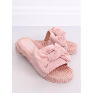 Dámské semišové růžové pantofle na gumové podrážce
