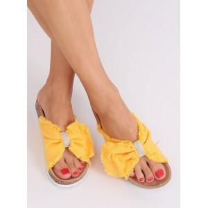 Moderní dámské žluté pantofle s třásněmi a zirkony