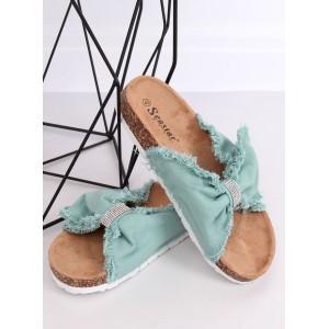 Stylové dámské zelené pantofle s trendy mašlí a zirkony