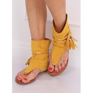 Extravagantní dámské žluté semišové sandály v boho stylu