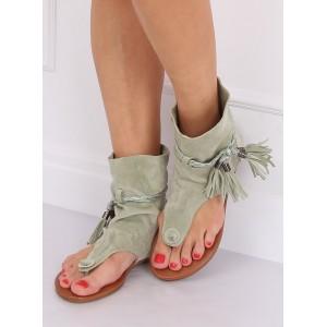 Krásné dámské zelené sandály s vysokým svrškem a třásněmi