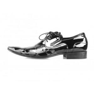 Pánské kožené společenské boty lesklé černé