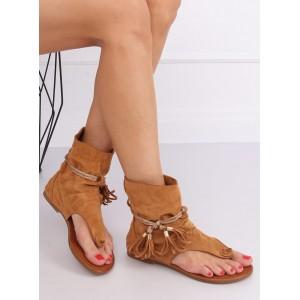 Originální hnědé dámské sandály s třásněmi v boho stylu