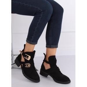 Moderní dámské černé kotníkové boty s top řemínky