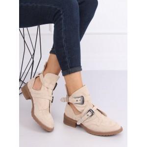 Béžové dámské kotníkové boty s designovými přezkami