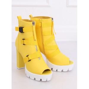 Extravagantní žluté kotníkové boty na vysokém podpatku