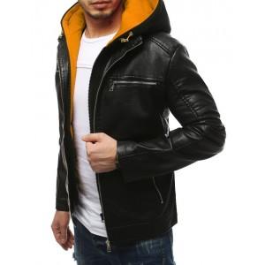 Moderní pánská kožená bunda s odnímatelnou kapucí