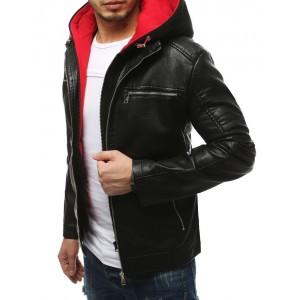Originální černá pánská kožená bunda s kapucí a trendy designem