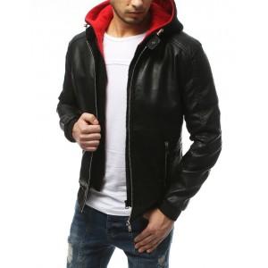Pánská kožená bunda na zip s odnímatelnou červenou kapucí