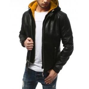 Pánská černá kožená bunda s barevnou odnímatelnou kapucí