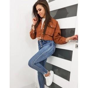 Originálna hnedá dámska oversize jeansova bunda