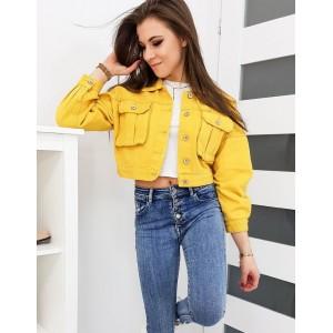Stylová dámská krátká riflová bunda ve žluté barvě