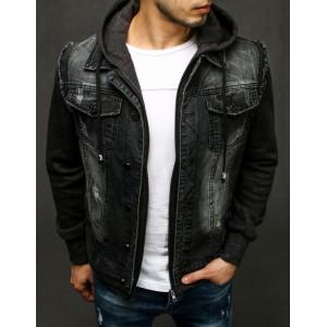 Černá pánská riflová bunda s módním třením a kapucí