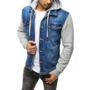Trendy pánská riflová bunda s kapucí a rukávy z bavlny