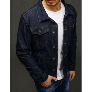 Denimová pánská bunda v tmavě modré barvě