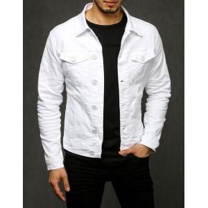 Stylová pánská bílá riflová bunda