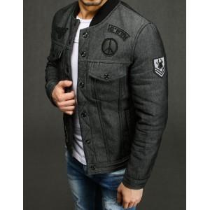 Pánská riflová bunda s podšívkou šedé barvy