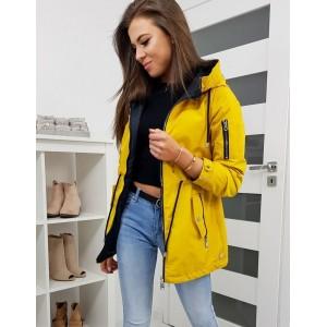 Oboustranná dámská přechodná bunda žluté barvy