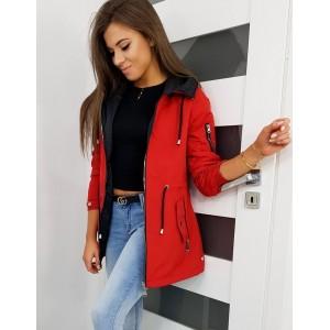 Dámská jarní bunda červené barvy se stahovací šňůrkou v pase