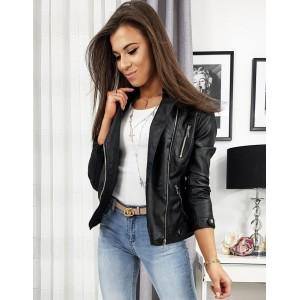 Černá dámská kožená bunda bez kapuce