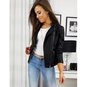 Trendová dámská kožená bunda na jaro černé barvy
