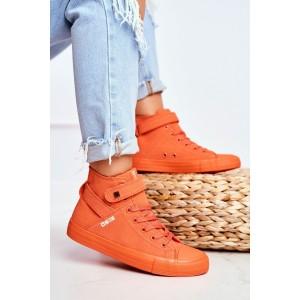 Pohodlné dámské oranžové kotníkové tenisky BIG STAR