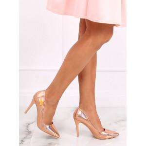 Lesklé dámské vysoké lodičky v růžové barvě