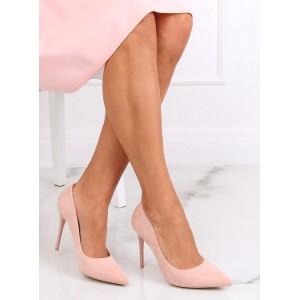 Semišové dámské lodičky v růžové barvě