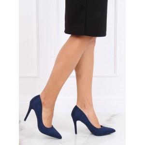 Semišové dámské lodičky v modré barvě na podpatku