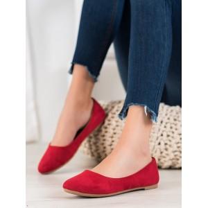 Jednoduché dámské balerínky v červené barvě