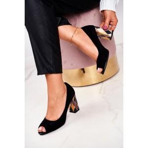 Elegantní černé dámské lodičky s módním podpatkem