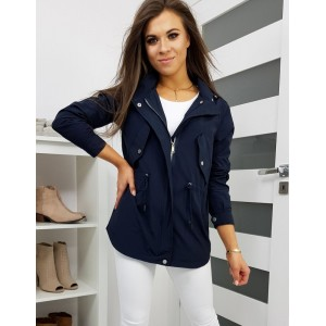 Modrá dámská přechodná bunda s kapucí a stahovací šňůrkou