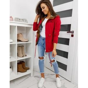 Červená dámská jarní bunda s kapucí a dvěma kapsami