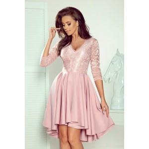 Krásné dámské společenské růžové šaty s dlouhým rukávem