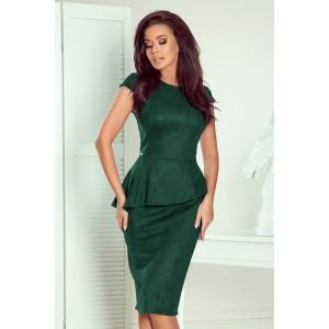 Stylové dámské zelené midi šaty s rafinovaným slim pásem