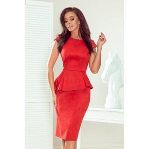 Elegantní dámské červené midi šaty s asymetrickým volánem