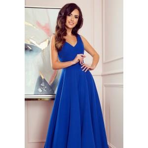 Luxusní dámské dlouhé společenské modré šaty